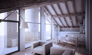 Attic with covered terrace